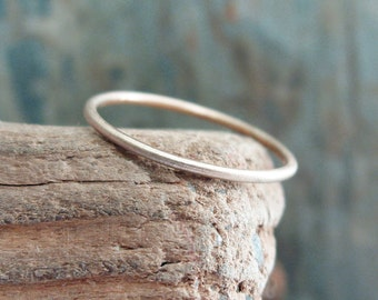 Tiny Solid 14k Gold Stacking Ring in Choice of Finish - Hammered, Brushed / Matte / Satin, or Smooth - 1mm Thin Gold Thread Halo Ring