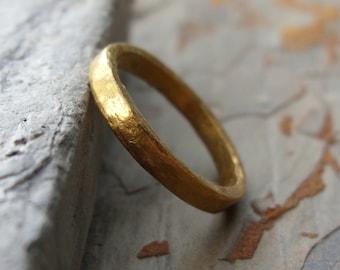 Primitive Solid 24k Wedding Ring. Artisan Hammered Pure Gold Band.