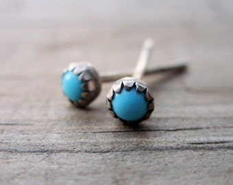 3mm Turquoise Stud Earrings - Tiny Bud Turquoise Stone Earrings in Sterling Silver with Serrated Bezel Setting