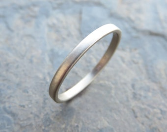 Narrow White Gold Wedding Band - 2mm Flat Band in Solid 14k - Polished or Matte Gold Ring - Standard or Hypoallergenic Palladium White Gold