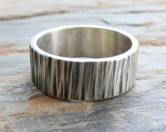 8mm Tree Bark Wedding Band. Sterling Silver Wood Grain Ring, Flat Rectangular Wide Band.