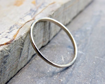 1.2mm Thin White Gold Wedding Band, Promise Ring - Solid 14k White Gold Half Round Band, Polished or Matte Finish - Ultra Thin Classic Band