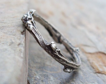 Sterling Silver Budding Twig Wedding Band or Stacking Ring - Antiqued Tree Branch or Vine Commitment or Promise Ring