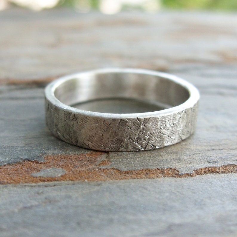 Promise Ring Wedding Band Ring Sterling Silver Textured Band Ring Thick Textured Band Ring Unisex