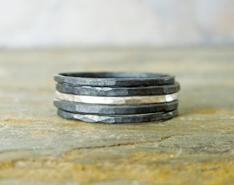 Silver Stripe Mixed Stacking Set of 5 - Bright and Blackened Contrasting Thin Sterling Silver Rings - Skinny Stacking Rings Set