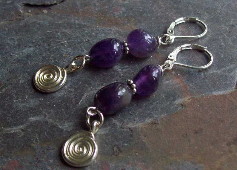 Bordeaux Genuine Amethyst natural stone nugget beaded earrings with silver plated swirl dangles