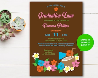 Hawaiian Hibiscus Luau Graduation Invitation (Digital)