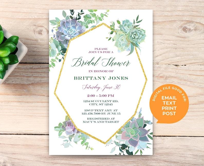 Succulent Bridal Shower Invitation Digital