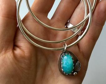 Bangle bracelet, bangle charm bracelet, silver bangle set with charm, three bangle set, gemstone charm