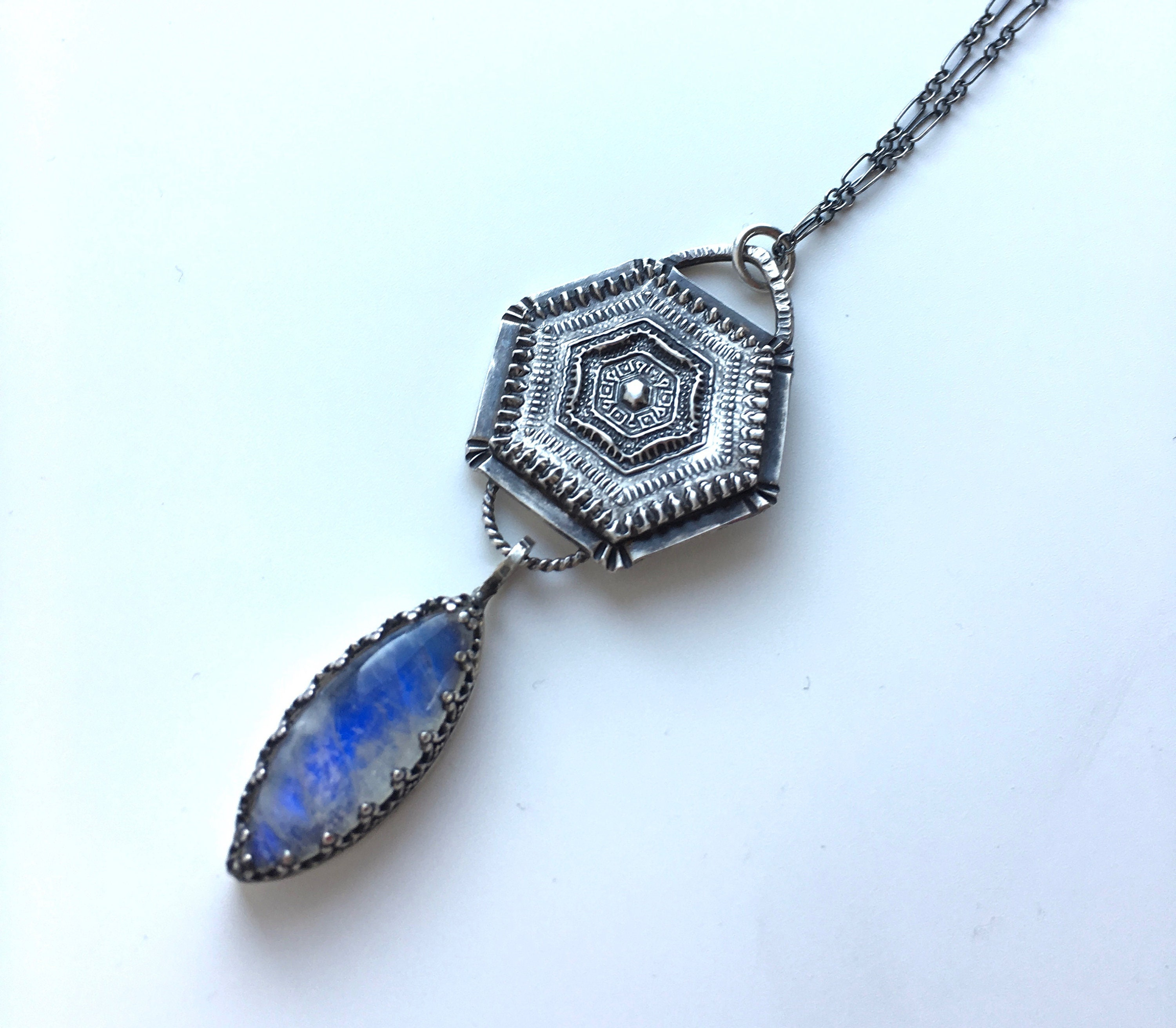 Boho-Layering Black Moonstone Pendant Necklace-RARE-AAA-Sterling Silver-Energy Healing Jewelry-June Birthstone