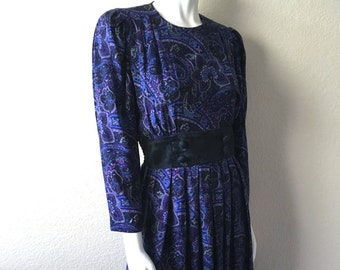 Vintage Women's 80's Paisley Dress, Purple, Long Sleeve by Karin Stevens (M)