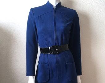 Vintage Women's 60's Mod Dress, Navy Blue, Long Sleeve, Polyester (S)