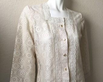 Vintage Women's 70's Boho, Lace Blouse, 3/4 Sleeve by Tumbleweeds (M)