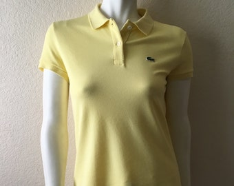 Vintage Women's 90's Lacoate Polo, Top, Yellow, Short Sleeve (S)
