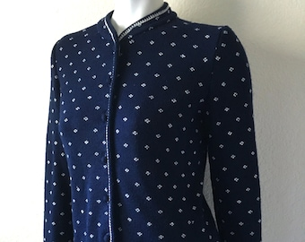 Vintage Women's 80's Navy Blue Cardigan Sweater, Button Up (S)