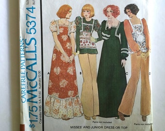 Vintage Sewing Pattern Women's 70's Uncut, McCall's 5374, Boho Dress, Tops (XS)