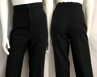 Vintage 80's Levi's, Black, Polyester, High Waisted, Tapered Leg, Pants (M)