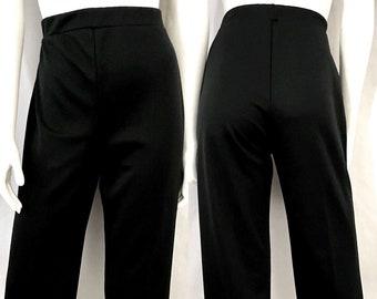 Vintage Women's 70's Black, Polyester, High Waisted, Straight Leg Pants (L)