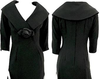 Vintage 50's Chumley-Charles F Berg, Black, Sleeved, Wiggle Dress (M)