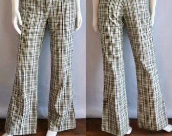 Vintage Men's 70's Levi's Plaid, Bell Bottom, Pants (W31)