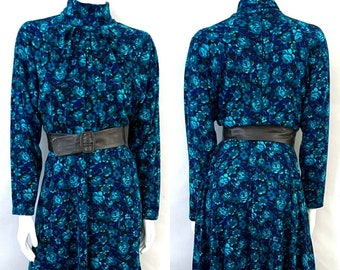 Vintage 80's Teal, Blue, Floral, Acrylic, Long Sleeve, Dress (S)