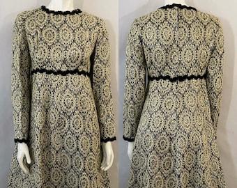 Vintage 60's Gold, Black, Brocade, Long Sleeve, A Line Dress (S)