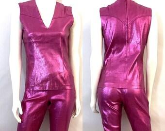 Vintage 60's H Bar C, Metallic Pink, Vest, Bell Bottom Pant Set (M)