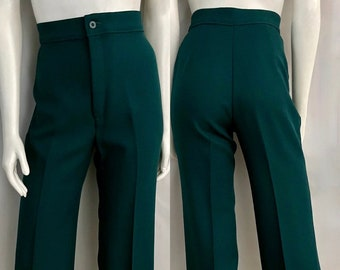 Vintage 70's Levi's, Teal, Polyester, High Waisted, Wide Leg, Pants (M)