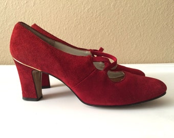 Vintage Shoes Women's 80's Burgundy Suede, Heels by Jacqueline (Size 6)