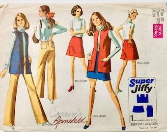 Vintage 60's Simplicity 8411, One Piece Mini-Skirt, Vest, Hipphugger Pants (M)