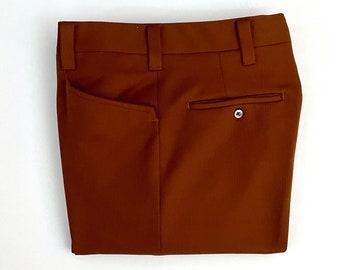 Vintage Men's 70's Haggar, Brown, Polyester, Flare Leg, Disco Pants (W33)