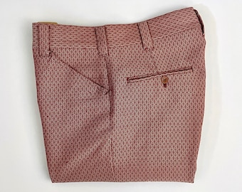 Vintage Men's 60's Red, White, Geometric, Polyester, Flare, Pants (W31)
