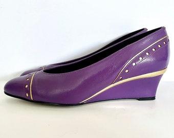 Vintage 80's Magdesians Wedges, Purple, Gold (Size 5)