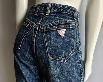 Vintage Women's 80's Guess, Jeans Shorts, Acid Wash, Cut Offs (L)
