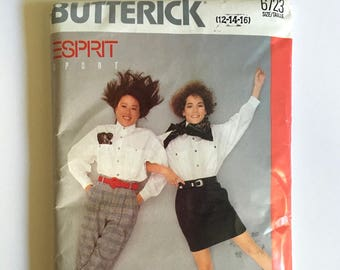 Vintage Sewing Pattern, Teen Girls, 80's Uncut, Butterick 6723, Esprit Sport, Skirt, Blouse, Pants (L)