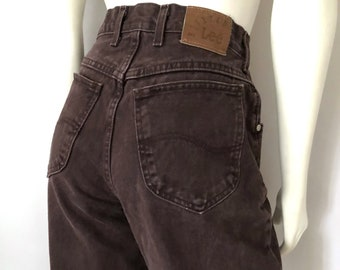 e7fbb7aab Vintage Women's 90's Lee Riveted, Brown, Jeans, High Waisted, Long, Denim  (M)