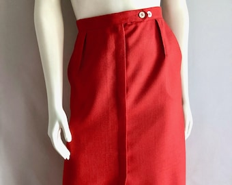 Vintage Women's 80's Red, A Line, Skirt, Fully Lined by JH Collections (M)