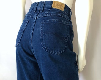 cf63ffae Vintage Women's 80's Lee Jeans, Navy Blue, High Waisted, Colored Denim (M)