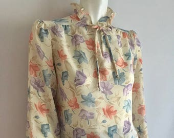 Vintage Women's 70's Cream, Floral, Blouse, Sheer, Long Sleeve (L)