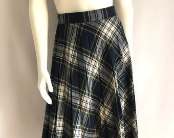 Vintage Women's 80's Plaid, Pleated Skirt, Wool Blend, Knee Length (M)