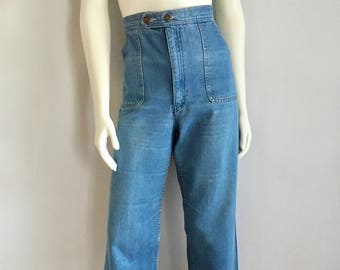 Vintage Women's 80's High Waisted Jeans, Light Wash, Wide Leg by Bay Britches (L)