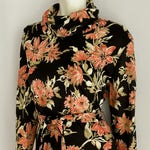 Vintage Womens 70's Floral, Belted Blouse, Tunic, Long Sleeve by Alex Coleman (L)