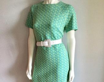 Vintage Women's 60's Mod, Shift Dress, Geometric, Short Sleeve (L)