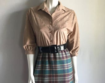 Vintage Women's 80's Plaid Dress, Short Sleeve, Knee Length by Gail Gray (M)