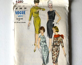 Vintage Sewing Pattern 50's Uncut, Vogue 6220, One Piece Dress (S)