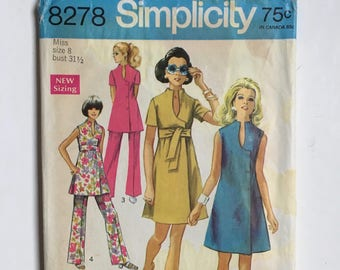 Vintage Sewing Pattern, Women's 60's Simplicity 8278, Partially Uncut, Dress, Tunic, Pants (XS)