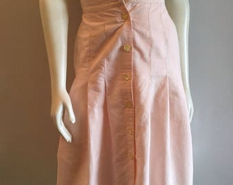 Vintage Women's 80's Pastel Pink, Skirt, Ramie, Cotton by Feelin Jazzie (XS)