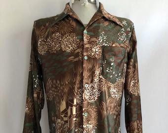Vintage Men's 70's Disco Shirt, Long Sleeve, Nylon, Button Down by Jantzen (M)