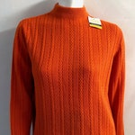 Vintage Women's 70's Unworn, NOS, Orange, Acrylic Sweater, Long Sleeve by Young Casuals (L)