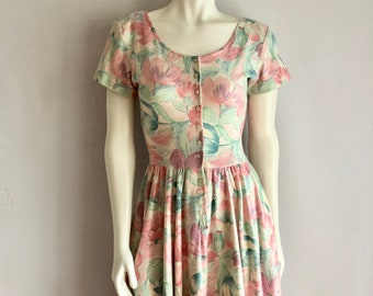 Vintage Women's 90's Expo, Floral, Dress, Off White, Knee Length (XS)